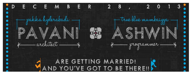 Portal themed Save the Date
